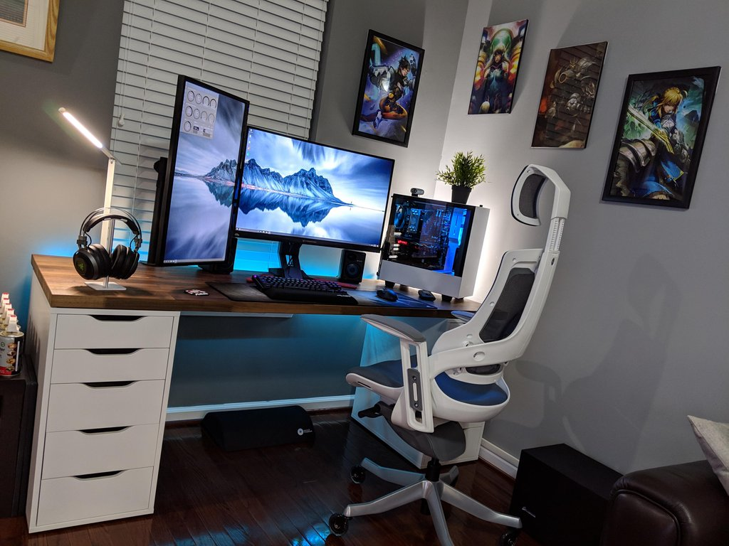 bright blue game room