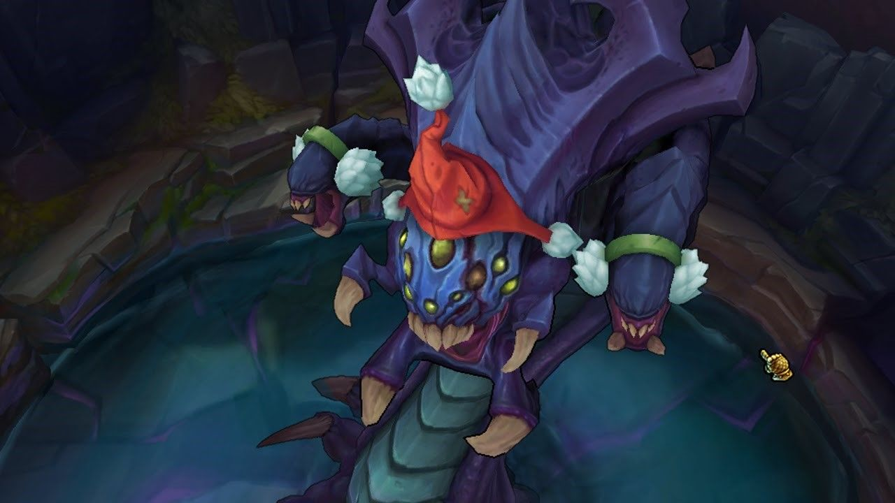 League of Legends baron with santa hat